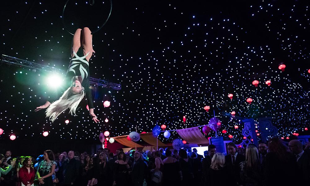 Electric Jungle Christmas Party Acrobatics