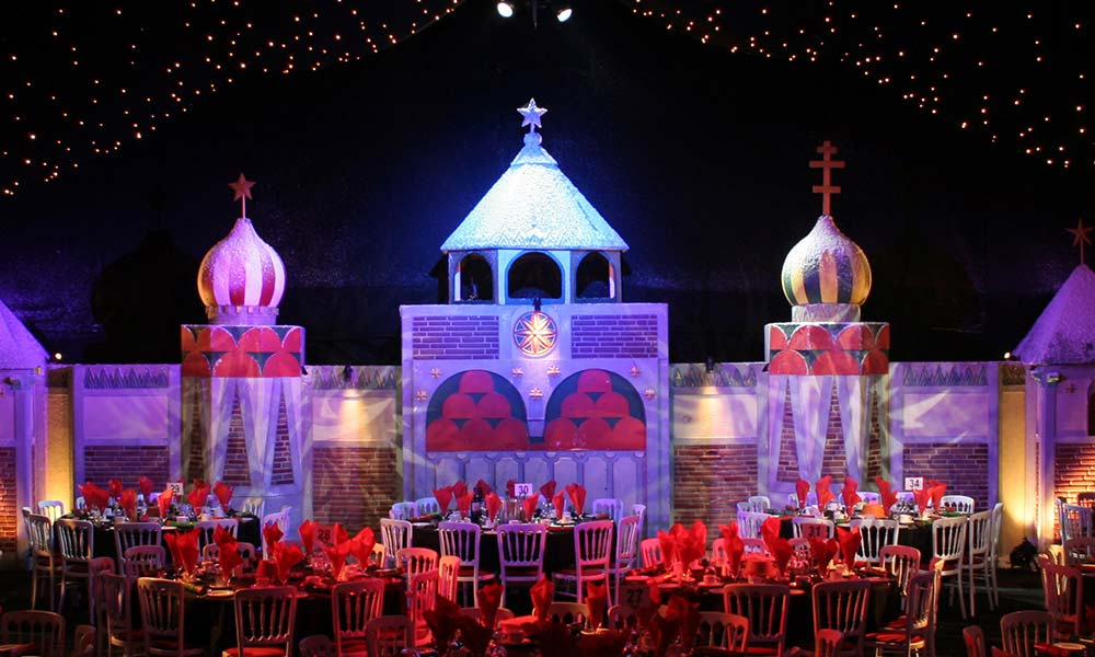 russian themed christmas party, with cossacks at the kremlin